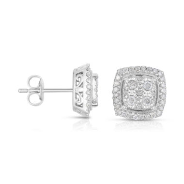 jcpenney.com | TruMiracle® 1/2 CT. T.W. Diamond 10K White Gold Square Stud Earrings