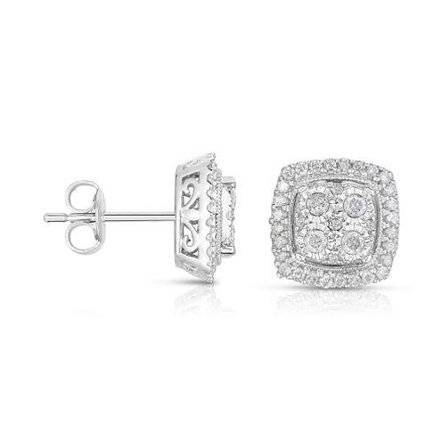 TruMiracle® 1/2 CT. T.W. Diamond 10K White Gold Square Stud Earrings