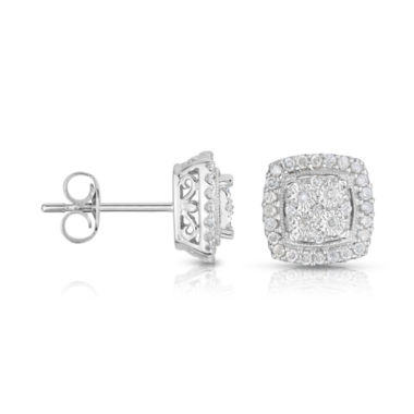 jcpenney.com | TruMiracle® 1/4 CT. T.W. Diamond 10K White Gold Square Stud Earrings