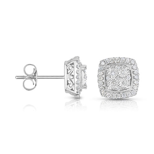 TruMiracle® 1/4 CT. T.W. Diamond 10K White Gold Square Stud Earrings