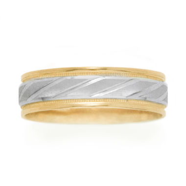 jcpenney.com |  Womens 10K Two-Tone Gold Polished & Brushed Laser-Cut Wedding Band