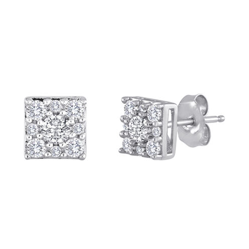 diamond blossom 1/2 CT. T.W. Diamond Sterling Silver Cluster Earrings
