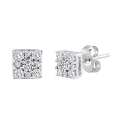 Fine Jewelry diamond blossom 1/10 CT. T.W. Diamond Sterling Silver Cluster Earrings I2QJ1