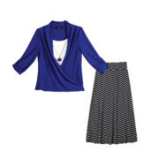by&by Girl Wrap Top with Necklace or Print Maxi Skirt - Girls 7-16