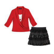 by&by Girl Wrap Top with Necklace or Layered Skirt - Girls 7-16