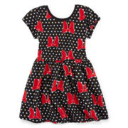 Disney Minnie Mouse Short-Sleeve Polka Dot Bow Dress – Girls 7-16