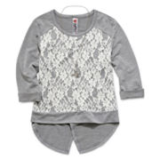 Knit Works Lace Overlay Top with Necklace - Girls 7-16