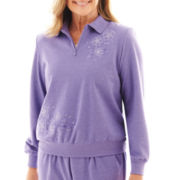 Alfred Dunner® Better Together Long-Sleeve Zip-Neck Top - Petite