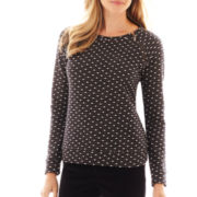 Liz Claiborne Long-Sleeve Zipper Dot Sweatshirt - Petite
