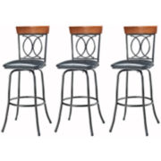 O/X-Back Set of 3 Adjustable Barstools