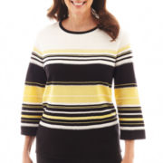 Alfred Dunner® 3/4-Sleeve Striped Sweater