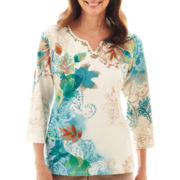 Alfred Dunner® Grand Canyon 3/4-Sleeve Leaf Paisley Print Knit Top