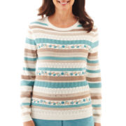 Alfred Dunner® Grand Canyon Embroidered Biadere Sweater