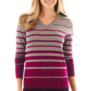 St. John's Bay® Long-Sleeve V-Neck Striped Sweater