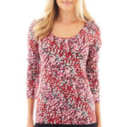 Liz Claiborne® Long-Sleeve Dot Print Tee - Tall