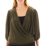 Alyx® 3/4-Sleeve Embellished Crossover Top - Plus