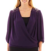 Alyx® 3/4-Sleeve Embellished Crossover Top