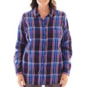 St. John's Bay® Brushed Twill Shirt - Plus