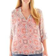 a.n.a® Long-Sleeve Mandarin Collar Woven Top - Plus