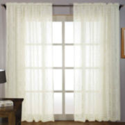 Laura Ashley® Tile Lace Rod-Pocket Embroidered Sheer Panel Pair