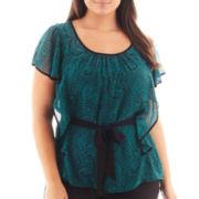Alyx® Short-Sleeve Tie-Waist Blouse - Plus