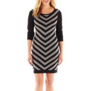 Worthington® Long-Sleeve Chevron Print Dress - Petite