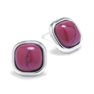 jcpenney.com | Simulated Red Jasper Sterling Silver Square Stud Earrings
