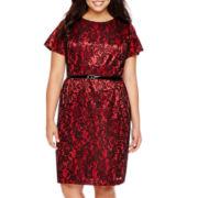 Alyx® Cap-Sleeve Spliced Lace Sheath Dress - Plus