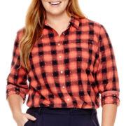 Stylus™ Long-Sleeve Brushed Twill Plaid Shirt - Plus