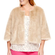 Stylus™ 3/4-Sleeve Faux-Fur Jacket - Plus