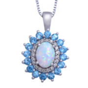 Genuine Blue Topaz and Lab-Created Opal and White Sapphire Pendant Necklace