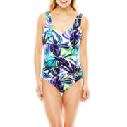 Trimshaper® Tropical Print Shirred One-Piece Tank Swimsuit