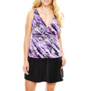 Trimshaper® V-Neck Tankini Swim Top or Skirted Bottoms - Plus