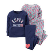 Carter's® 4-pc. Super Awesome Pajama Set - Baby Girls 6m-24m
