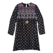 Knit Works Printed Peasant Dress and Necklace - Girls 7-16