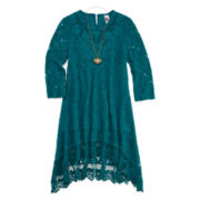 Knit Works Lace Peasant Dress and Necklace - Girls 7-16