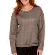 Liz Claiborne® Long-Sleeve Foil Textured Sweatshirt