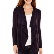 Liz Claiborne® Long-Sleeve Shadow-Striped Open-Front Cardigan