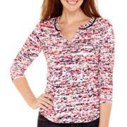 Liz Claiborne® 3/4-Sleeve Print Knit T-Shirt