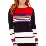 Liz Claiborne® Long-Sleeve High-Low Striped Sequin Sweater