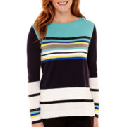 Liz Claiborne® Long-Sleeve Metallic-Trim Sweater - Tall