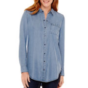 Liz Claiborne® Long-Sleeve Chambray Tunic