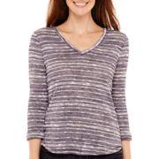 Liz Claiborne® 3/4-Sleeve Striped Knit T-Shirt