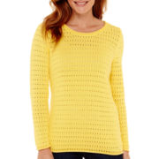 Liz Claiborne® Long-Sleeve Pointelle Sweater