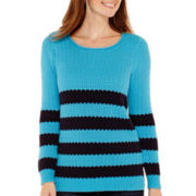 Liz Claiborne® Long-Sleeve Striped Stitch Sweater