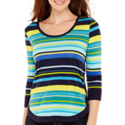 Liz Claiborne® 3/4-Sleeve Striped Ribbed-Hem T-Shirt