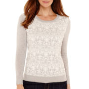 Liz Claiborne® Long-Sleeve Damask Pullover Sweater