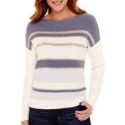 Liz Claiborne® Long-Sleeve Metallic-Striped Pullover Sweater