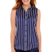 Liz Claiborne® Sleeveless Woven Print Blouse