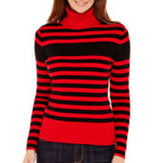 Liz Claiborne® Long-Sleeve Ribbed Knit Turtleneck Sweater